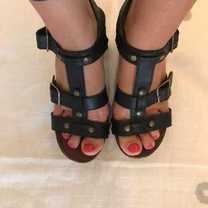 Celebrity Pink Black Studded Sandals